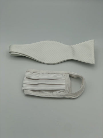 Self Bow Tie & Face Mask Set, Ivory Stripe BT2-2