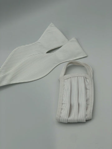 Self Bow Tie & Face Mask Set, White Stripe BT2-2