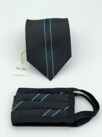 Classic Tie & Face Mask Set, 116-8 Turquoise
