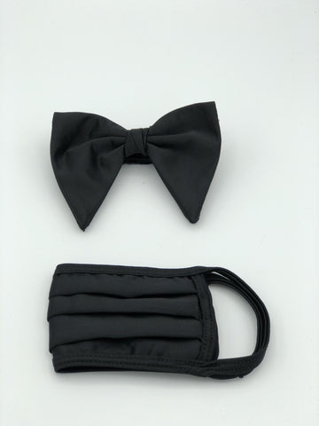 Droopy Bow Tie & Face Mask Set, Black