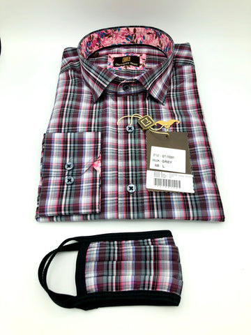 Face Mask & Shirt Set, GT-10081 Grey