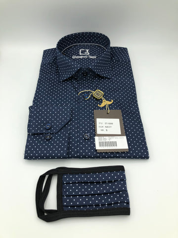 Face Mask & Shirt Set, GT-10049 Navy