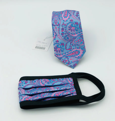 Face Mask & Tie Set S80-5, Blue Paisley