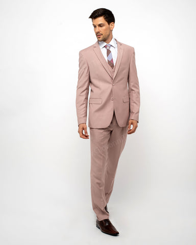 2 Button Notch Lapel Blush Slim Fit Suit FF2SV-4030