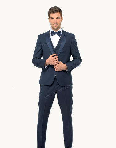 1 Button Peak Lapel Slim Fit Navy Tuxedo FF1PX+V-1230
