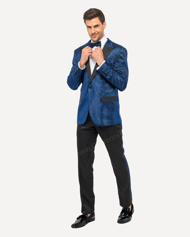 Fabio Fabrinni Slim Fit Glitter Suit w/ Mask FF1P-6026 R.BLUE
