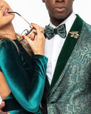 GT1ST-6502, Green Floral Tuxedo w/ Mask