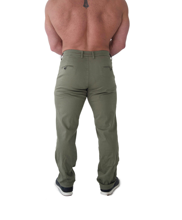 Men's Athletic Fit Chino | Keirin Cut Chino - Army Green