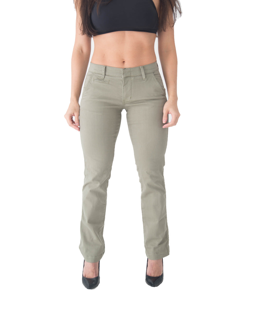 Women's Athletic Fit Chinos | Keirin Cut Chinos - Army Green
