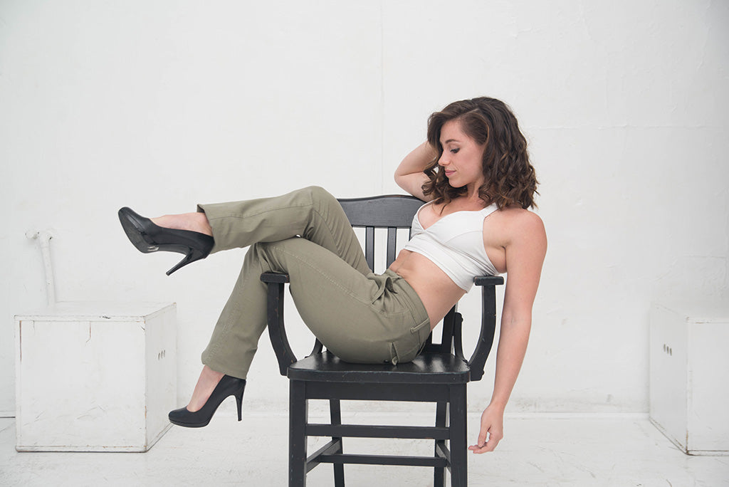Women's Athletic Fit Chinos - Army Green