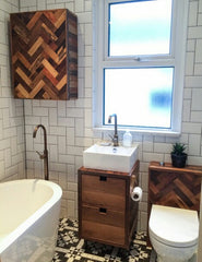 full parquet bathroom suite made using beautiful reclaimed wood including beech, oak and antique pine...including toilet cistern cover, vanity unit and wall mounted cupbaord