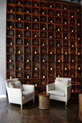 gorgeous wooden feature wall with mini compartmental shelving