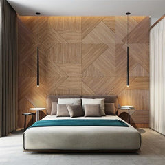 parquet wall in modern home gorgeous light wood behind a bed which has been back lit to create a feature wall