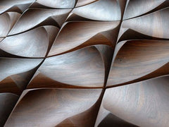 wooden wall tiles with wave like texture