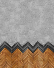 herringbone wooden wall cladding set into simple grey concrete wall