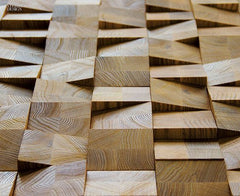 3D wooden wall cladding adding texture and playfulness to the room