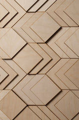 Anthony Roussel 3D wooden wall cladding with fabulous geometric shapes and shadows