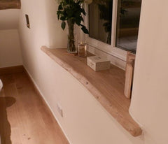 Waney edge window sill smooth wood tactile shelf