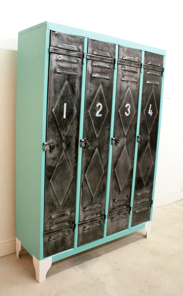 1950's 4 door lockers from Renault factory with diamond detailing - TheRetroStation  - 4