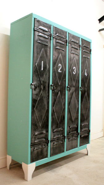 1950's 4 door lockers from Renault factory with diamond detailing - TheRetroStation  - 1