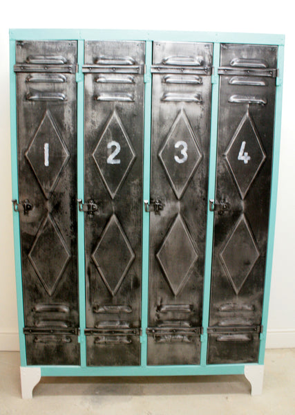 1950's 4 door lockers from Renault factory with diamond detailing - TheRetroStation  - 2