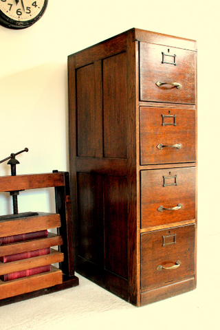 Beautiful Oak Victorian Filing Cabinet Circa 1860 - TheRetroStation  - 1
