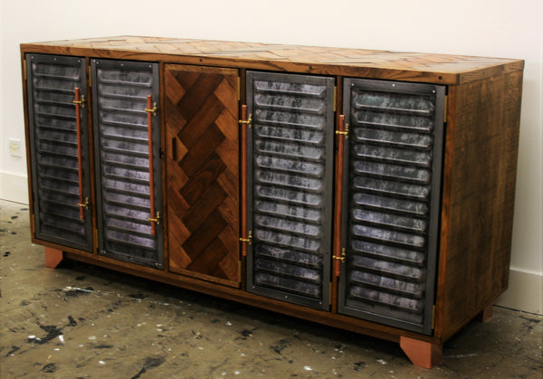 5 door Vintage industrial storage polished steel and parquet detailing - TheRetroStation  - 2