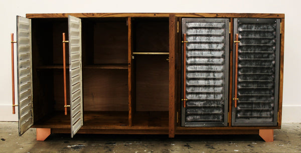 5 door Vintage industrial storage polished steel and parquet detailing - TheRetroStation  - 4