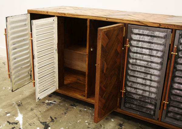 5 door Vintage industrial storage polished steel and parquet detailing - TheRetroStation  - 6