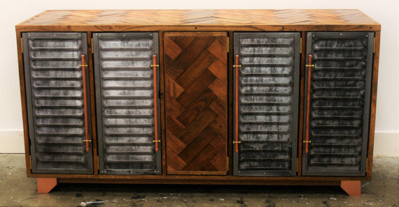5 door Vintage industrial storage polished steel and parquet detailing - TheRetroStation  - 1