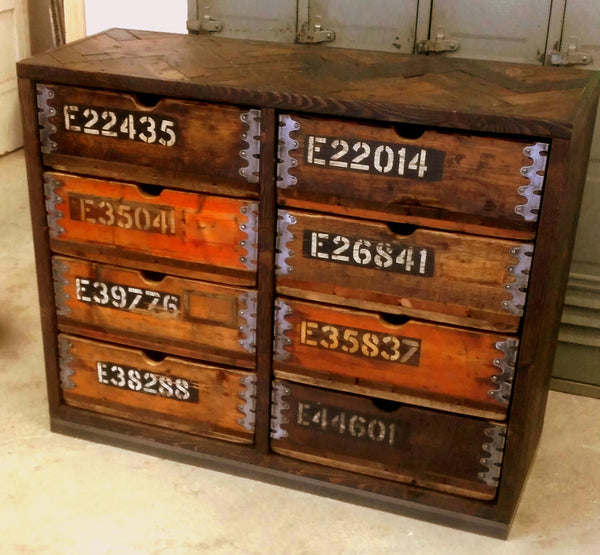 Vintage Industrial 8 Drawer Cabinet - Amo Range - TheRetroStation  - 1