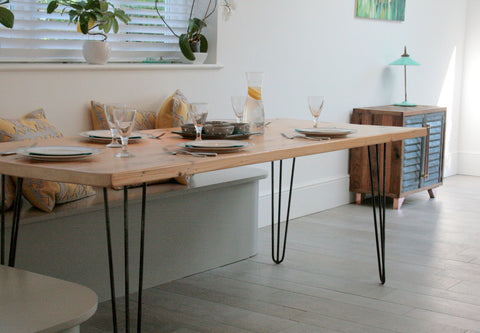 Vintage Industrial Bespoke Dining Table & Bench Set - TheRetroStation  - 1