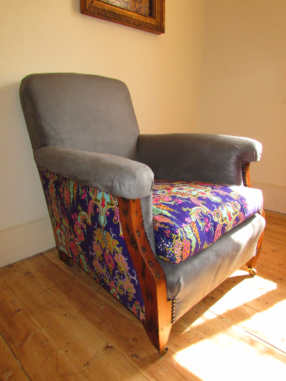 Vintage Armchair Re-designed with beautiful grey suede fabric - TheRetroStation  - 1
