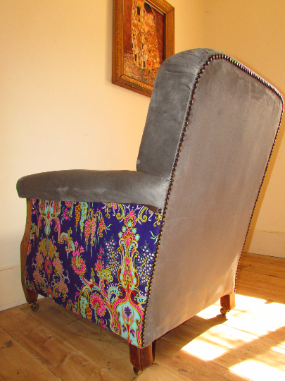 Vintage Armchair Re-designed with beautiful grey suede fabric - TheRetroStation  - 4
