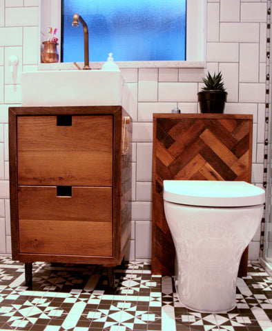 Bespoke Oak Parquet Bathroom Suite - TheRetroStation  - 1