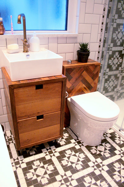 Bespoke Oak Parquet Bathroom Suite - TheRetroStation  - 2