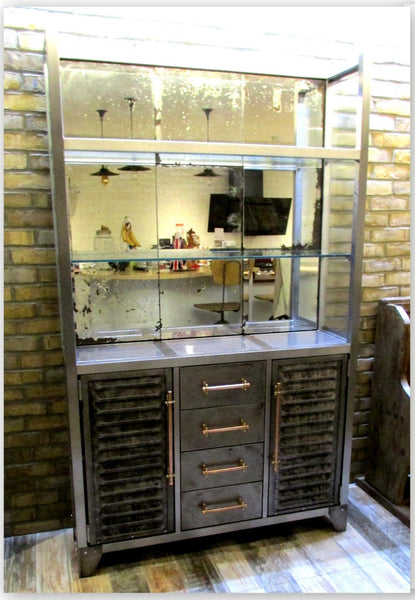 Polished Metal and Antique Mercury Glass Bar Cabinet with Copper Pipe Handles - TheRetroStation  - 4