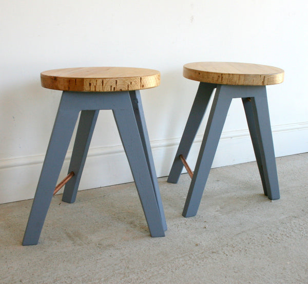 The Caboose Stool - Hand crafted tripod design with reclaimed wood and copper pipe detailing - TheRetroStation  - 6