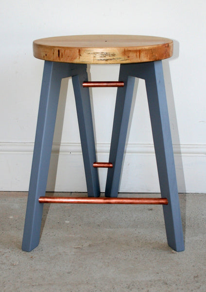 The Caboose Stool - Hand crafted tripod design with reclaimed wood and copper pipe detailing - TheRetroStation  - 7