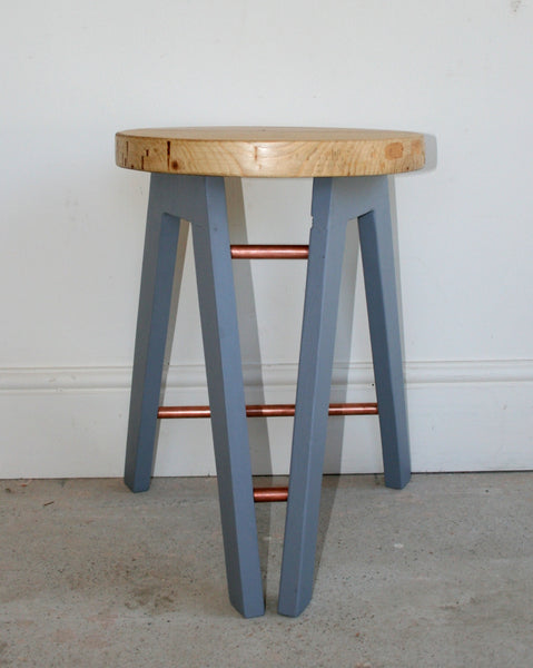 The Caboose Stool - Hand crafted tripod design with reclaimed wood and copper pipe detailing - TheRetroStation  - 4