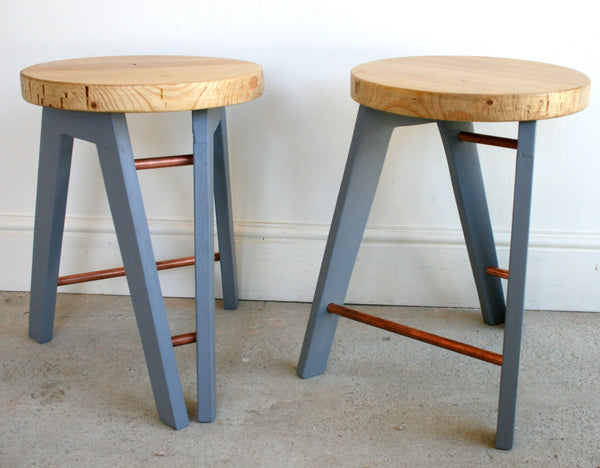 The Caboose Stool - Hand crafted tripod design with reclaimed wood and copper pipe detailing - TheRetroStation  - 2