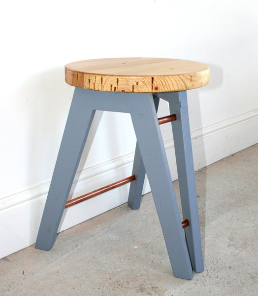 The Caboose Stool - Hand crafted tripod design with reclaimed wood and copper pipe detailing - TheRetroStation  - 10
