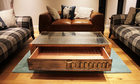 Vintage Industrial Oak Coffee Table with Copper feet