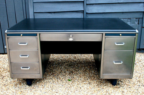 1950's Polished Steel Tanker Desk - TheRetroStation  - 1