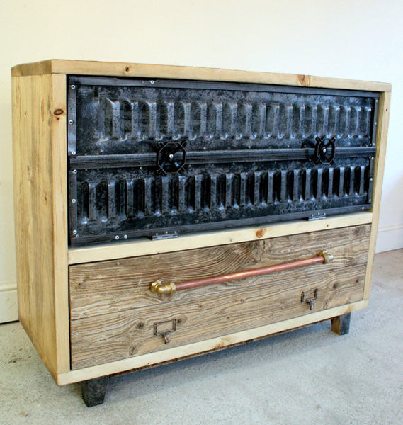 Vintage Industrial sideboard with plan chest drawers and polished shutter cupboards - TheRetroStation  - 2