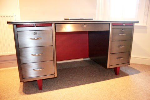 1950's Polished Steel Engineers Desk - TheRetroStation  - 1