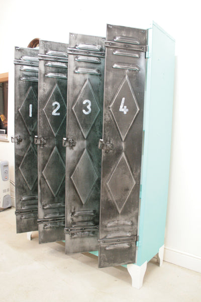 1950's 4 door lockers from Renault factory with diamond detailing - TheRetroStation  - 8