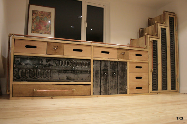 Bespoke vintage industrial storage solution crafted using vintage components - TheRetroStation  - 2