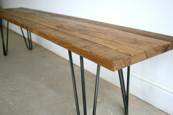 Hand Crafted Hairpin Leg Bench built to size using reclaimed wood - TheRetroStation  - 7