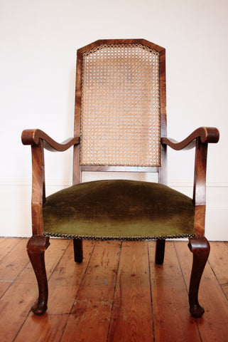 Vintage Rattan Occasional Chair with matching Footstool - TheRetroStation  - 1